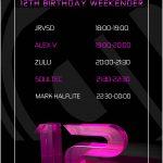 Different Drumz 12th Birthday Timetable - Friday