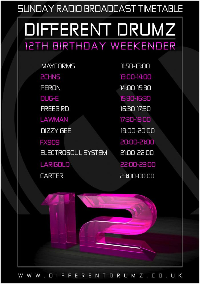 Different Drumz 12th Birthday Timetable - Sunday