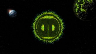 Different Drumz Wallpaper - Green Space Monster Logo