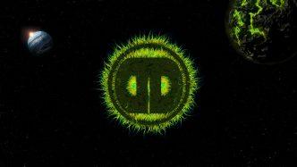 Different Drumz Wallpaper - Green Space Monster Logo